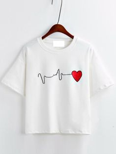 White Short Sleeve Heart Embroidered T-Shirt - Clever Shirts - Ideas of Clever Shirts - White Short Sleeve Heart Embroidered T-Shirt Love T Shirt, T Shirt Diy, Looks Adidas, T-shirt Broderie, Paint Shirts, Fabric Paint Shirt, Cute Shirt Designs, T Shirt Painting, Shirts For Girls