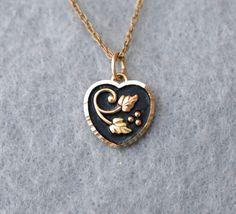 Black Hills 10K Gold Heart Pendant on 14K Gold Filled Chain Vintage Vintage Rings, Vintage Jewelry, Vintage Necklaces, Real Gold Jewelry, Black Hills Gold, Gold Necklace, Pendant Necklace, Gold Filled Chain, Heart Of Gold
