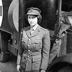 Princess Elizabeth poses in uniform while being taught to drive military vehicles in 1945. During World War II, the princess joined the Women's Auxiliary Territorial Service at the rank of second subaltern, and did her wartime duty as a driver and mechanic.