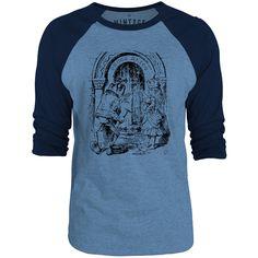 Mintage Through the Looking Glass - Queen Alice 3/4-Sleeve Raglan Baseball T-Shirt (Cobalt Marle / Navy)