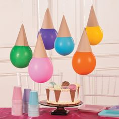 Ice Cream Cone Balloons | These DIY party decorations are a sweet addition to a…