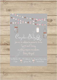 mason jar baby shower invite couples baby shower invitation babyq invitation