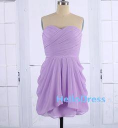 Short Sweetheart Lilac Chiffon Bridesmaid DressLilac by HelloDress, $85.00