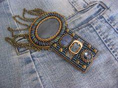 Купить Эполет/погон Jeans с цепями - джинс, деним, эполет, погон, синий, бронзовый, золотой, цепи