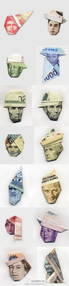 Faces and hats. All these are paper money from different countries and folded from ONE note.