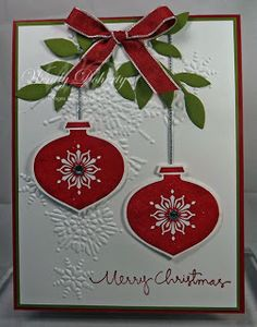 Stamps: Delightful Decorations, Christmas Greetings Paper: Whisper White, Riding Hood Red, Old Olive Ink: Riding Hood Red