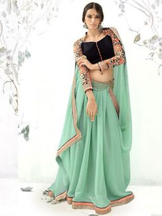 Pictorial Green Colored Shimmer And Georgette Designer Saree