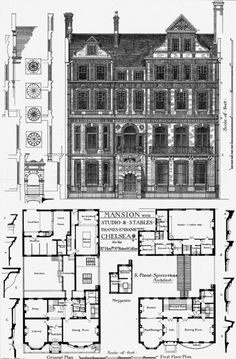 1879 - Mansion with Studio & Stables, Thames Embankment, Chelsea, London - Archiseek.com
