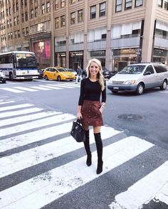 """3,233 Likes, 92 Comments - KRYSTAL SCHLEGEL (@krystalschlegel) on Instagram: """"NYC today.  The boots are pretty comfortable, the top is a must have & the skirt has pockets. …"""""""