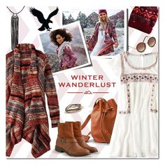 """Winter Wanderlust with American Eagle: Contest Entry"" by margaretferreira ❤ liked on Polyvore featuring American Eagle Outfitters, holidaystyle, winterstyle, aeostyle and winterwanderlust"