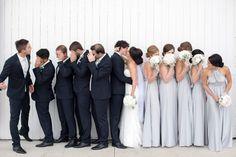 Nakita & Alex's modern elegant wedding.   Bridal party in The Peppy Studio's Light Grey / Silver bridesmaid convertible infinity dresses