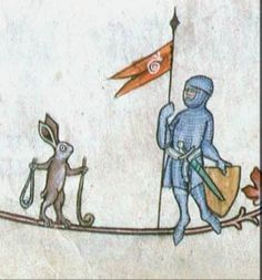 More bizarre marginalia. A drawing in the margins of a medieval manuscript depicting a knight in full armor, carrying a banner with a snail on it, faces a rabbit armed with a sling. metz pontificant