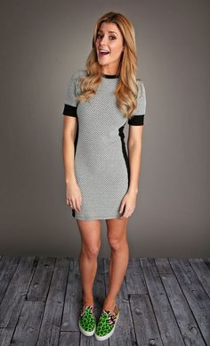 Grace Helbig, Colorful Sneakers, Tweed Dress, Cute Woman, Shirt Dress, T Shirt, What To Wear, Personal Style, Celebrities