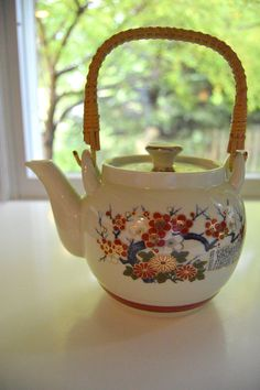 Japanese Teapot Wicker Handle Fall Colors by SongSparrowTreasures, $12.00