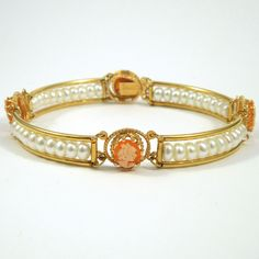 14K Yellow Gold Bracelet with Pearls and Small Cameos. - $500