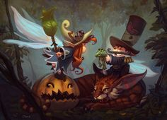 Little Halloween story in spellbound forest. This is a gift for Ketka (redhair fairy is Ketka)