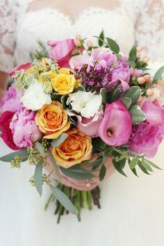 pink, orange, and white bouquet | Whitebox Photo #wedding