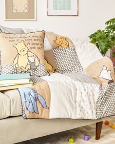 Classic Pooh A Day with Pooh Crib Bedding Collection. Classic Pooh and friends in a patchwork of fun, neutral patterns make this sweet & cozy style perfect for your little hunny's first room. #DisneyBaby #WinniethePooh