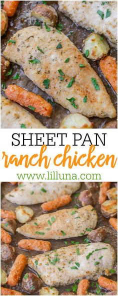 Delicious Sheet Pan Ranch Chicken with Parmesan Ranch veggies. A delicious dish that is simple, quick, tasty and perfect for holidays or any dinner.