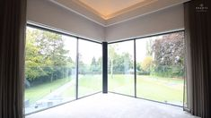Concealed Roller Blinds with Recessed Curtain Tracks, Bespoke electric curtains and blackout blinds with side rails. A three-sided Blindspace frame has been installed inside the wall to hide both blind an. Glass Door Curtains, Patio Door Blinds, Sliding Door Curtains, Sliding Patio Doors, Sliding Glass Door, Corner Curtains, Curtains With Blinds, Wall Of Curtains, Curtains And Blinds Together