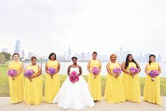 Canary Bridesmaid Dresses  Photography: Carasco Photography  http:/www.carascophoto.com   Read More: http://www.insideweddings.com/weddings/city-wedding-at-chicago-planetarium-with-purple-yellow-palette/688/