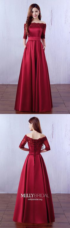Burgundy Prom Dresses,Long Prom Dresses with Sleeves,Modest Prom Dresses A-line,Off-the-shoulder Prom Dresses Lace