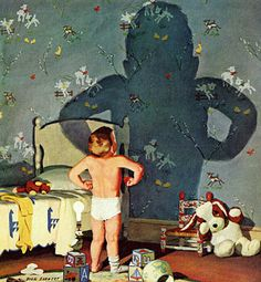 rogerwilkerson:    Big Shadow, Little Boy - art by Dick Sargent. Detail from Saturday Evening Post cover, October 22, 1960.