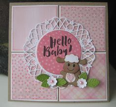 Handmade baby card by DT member Boukje with Collectables Eline's Baby Animals (COL1422) and Creatables Anja's Circle XL (LR0445) from Marianne Design