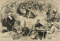 """WINSLOW HOMER (American): """"Our Women in the War"""" Wood Engraving by Homer published in Harper's Weekly in Sept 1864. Homer's illustrations supplied a rich visual component to the news that also served as an intimate expression of his artistic vision.  Soon, advances in photography and other forms of mass media would replace this form of illustration."""