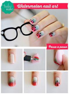 watermelon nail art tutorial : via Tudo Make – Maior blog de maquiagem, beleza e tutoriais de Curitiba.