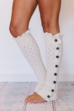 Lacy Knitted Leg Warmers Button Down in Sugar Sugar Ivory - ThreeBirdNest.