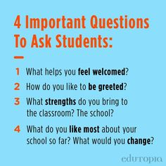 4 important questions to ask students: ⭐ What helps you feel welcomed? ⭐ How do you like to be greeted? ⭐ What strengths do you bring to the classroom? The school? ⭐ What do you like most about your school so far? What would you change? Teacher Quotes, Questions To Ask, You Changed, Strength, Bring It On, How Are You Feeling, Classroom, Teaching, Education
