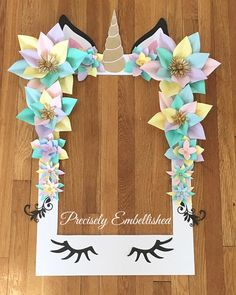 Unicorn Party Selfie Frame - Limited Edition - Unicorn Paper Flowers - Unicorn Party Decorations - U Unicorn Birthday Parties, Birthday Party Themes, Birthday Ideas, 5th Birthday, Birthday Crafts, Pyjamas Party, Unicorn Baby Shower, Unicorn Crafts, Bday Girl