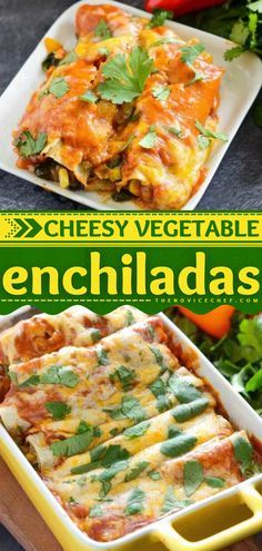 Find yourself making this family dinner idea again and again! Stuffed with tons of vegetables, these cheesy vegetarian enchiladas in homemade sauce will be your new favorite comfort food. Save this healthy main dish recipe! Pork Recipes, Mexican Food Recipes, Healthy Recipes, Healthy Foods, Vegetarian Recipes, Vegetable Enchiladas, Vegetarian Enchiladas, Delicious Dinner Recipes, Appetizer Recipes