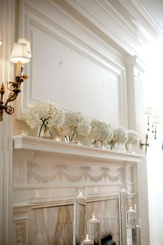 Simple and elegant white hydrangea wedding decor.