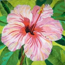 Hibiscus quilt by Melinda Bula. I tried a hibiscus.she nailed it! Flower Quilts, Fabric Flowers, Art Floral, Floral Artwork, Thread Painting, Painting Flowers, Landscape Quilts, Quilted Wall Hangings, Hibiscus Flowers