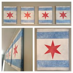 Original Lightly Weathered Chicago Flag Canvas Set Painting