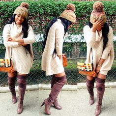 SM Fashionology.  The knit dress and boots are too cute