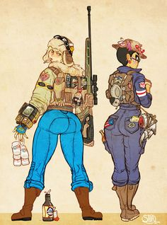 Shia and Turtle and backpacks by Drunkfu on DeviantArt Fallout Funny, Fallout Fan Art, Fallout Concept Art, Female Character Design, Character Design Inspiration, Character Concept, Character Art, Fantasy Characters, Female Characters