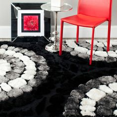 Hand-woven Silken Embossed Black Shag Rug (4' x 6') | Overstock.com Shopping - Great Deals on Safavieh 3x5 - 4x6 Rugs