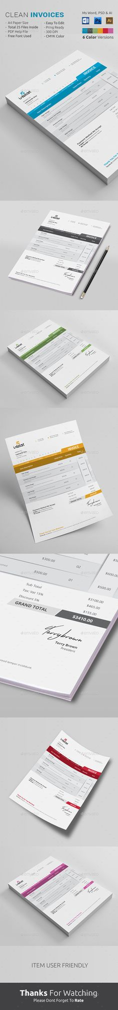 Invoice Invoice template, Minimal and Photoshop - word template for invoice
