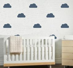 Clouds are everywhere in the nursery but we love this color {from @The Lovely Wall Co.} #BRITAXStyle