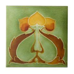 AN040 Art Nouveau Reproduction Antique Tile