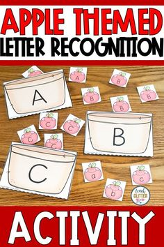 This printable, hands on letter recognition activity is a great way to help students practicing identifying  uppercase and lowercase letters. The fun apple theme is perfect for back to school or fall and can be used to teach during whole group, small group, or centers in  preschool, pre k, or kindergarten classrooms. #letterID #letterrecognition #appletheme #teachglittergrow Teaching Letter Sounds, Teaching The Alphabet, Teaching Phonics, Kindergarten Literacy, Teaching Resources, Apple Activities, Rhyming Activities, Letter Recognition, Recognition Ideas