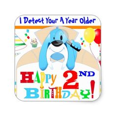 Dog Detective Happy Birthday Scavenger Hunt Party Square Sticker - diy cyo customize create your own personalize