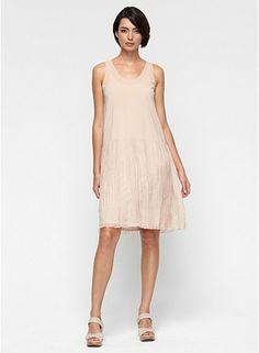 U-Neck Knee-Length Tank Dress with Slip in Gathered Sheer Silk