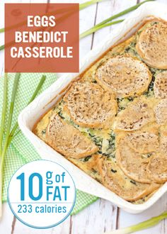 Just because you've embarked on an alli® weight-loss journey doesn't mean you can't enjoy delicious and flavorful meals, especially at breakfast time! This Eggs Benedict Casserole only has 10 grams of fat per serving and will help you start your day off right.  Nutrition facts are estimates only