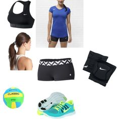 """""""Volleyball championship outfit"""" by happywalrus99 on Polyvore,i want green and volt nike free 5.0, cheap website for nikes 54% off"""