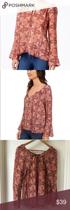 """HOST PICK 10/9 Sunset Boho Top Flowy peasant design with an intricate print.  Roundneck, Bell sleeves, Front keyhole with tie closure, About 25.5"""" from shoulder to hem, Rayon. Sanctuary Tops Blouses"""