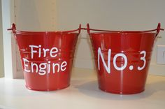 Personalized Fire Truck Birthday Buckets by WillowBayCollection, $14.00